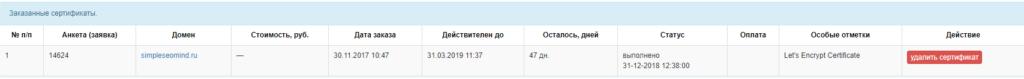 Пример бесплатного ssl -  сертификата